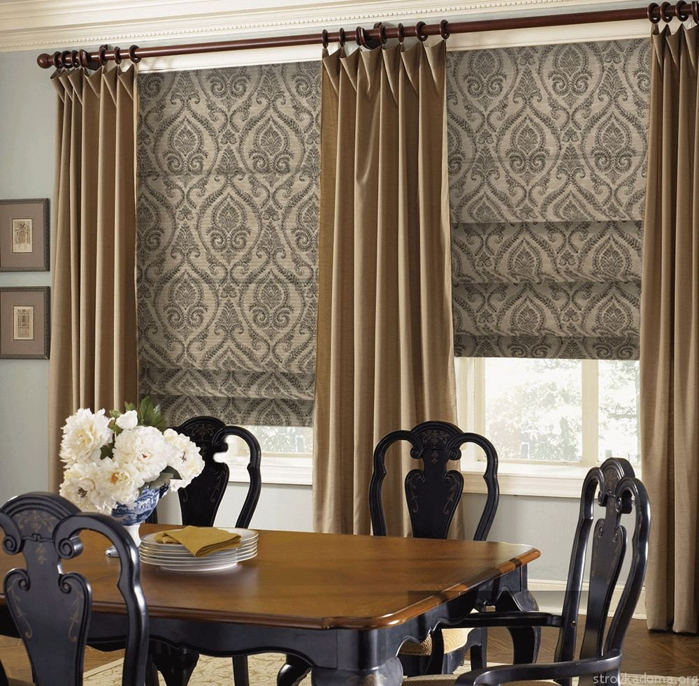 карнизы и шторы в гостиной фото